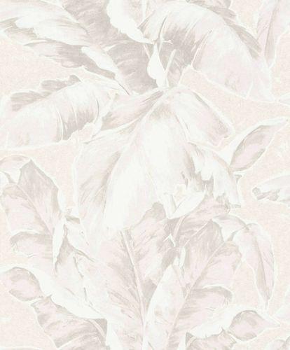 Vliestapete Palmwedel creme weiß silber Glanz 296043