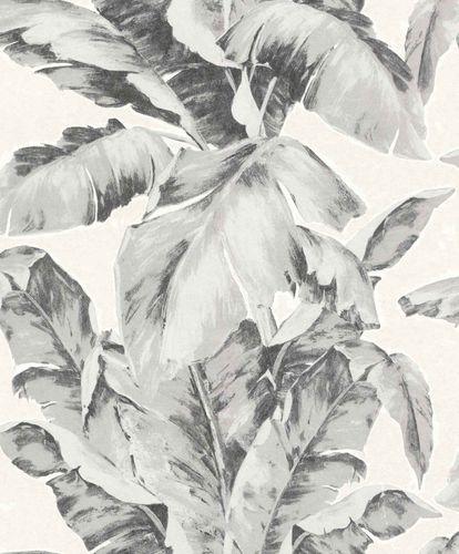 Vliestapete Palmwedel weiß schwarz grau Glanz 296050