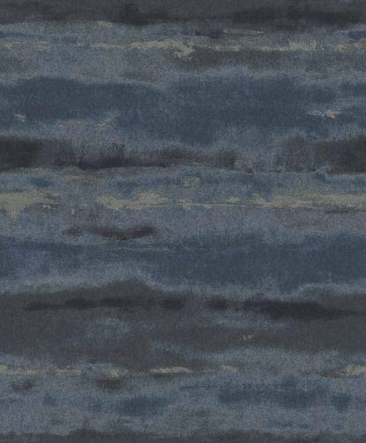 Vliestapete Aquarell dunkelblau silber Metallic 296098