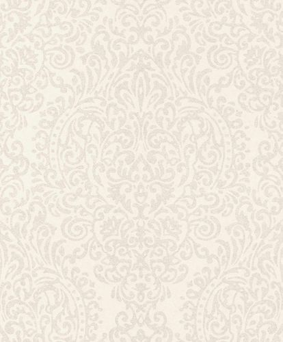 Vliestapete Ornament Porzellan creme silber Glanz 296180