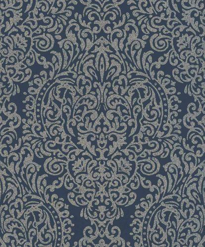 Vliestapete Ornament Porzellan blau bronze Glanz 296197