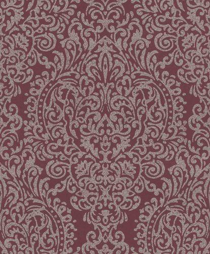 Vliestapete Ornament Porzellan bordeaux Glanz 296210