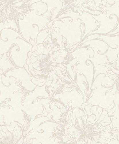 Vliestapete Blumen Blüten creme silber Metallic 296265
