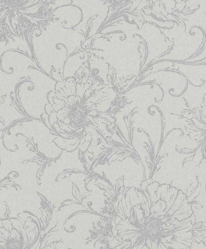 Vliestapete Blumen Blüten grau silber Metallic 296289