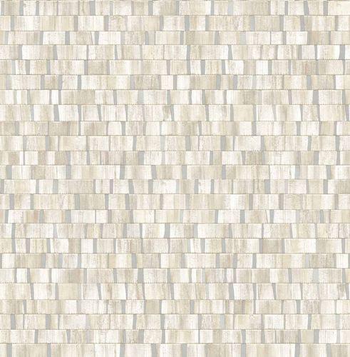 Tapete Vlies Holz Gestreift beige silber Glanz 124926