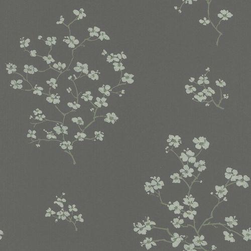 Non-Woven Wallpaper Flowers anthracite mint Blush 148737 online kaufen