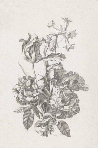 Fototapete Gravur Blumenstrauß hellgrau Blush 158887
