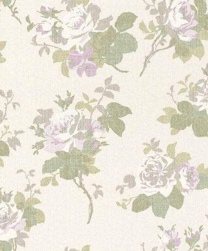 Textiltapete Rosenblätter weiß grüngrau lila Glanz 086132 online kaufen