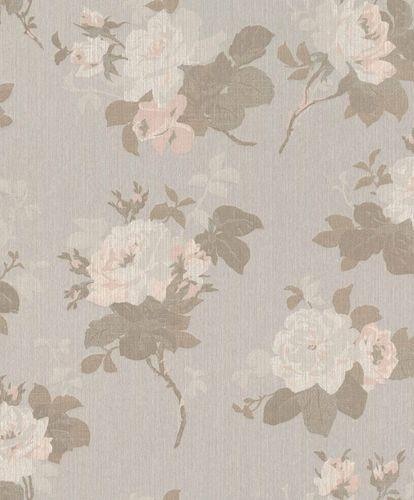 Textiltapete Rosenblätter grau braun rosa Glanz 086149 online kaufen