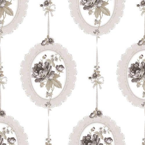 Vinyl Wallpaper medaillon floral cream beige 107815 online kaufen