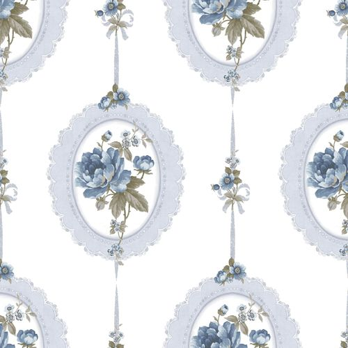 Vinyl Wallpaper medaillon floral cream blue grey 107817 online kaufen