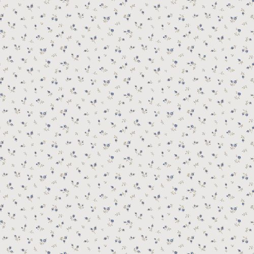 Vinyl Wallpaper little flowers white blue grey 107829 online kaufen