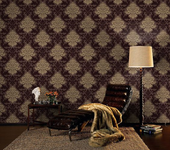 Retro Barock Lounge Tapete 156645 braun gold glänzend