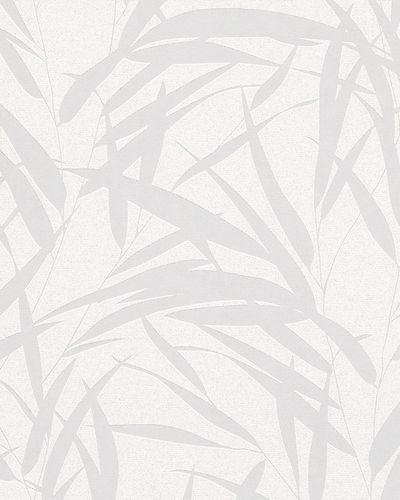 Tapete Vlies Blätter Glitzer weiß silber Glanz 6753-10