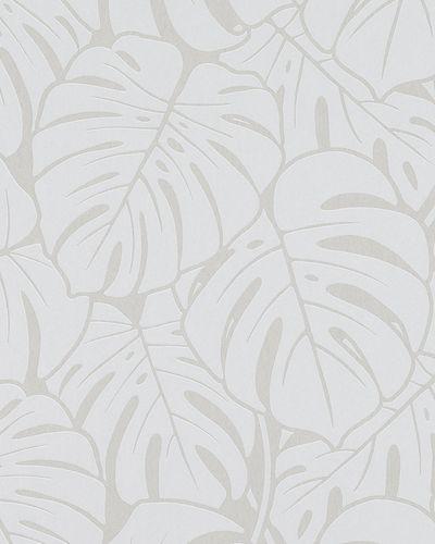 Tapete Vlies Große Blätter silber hellgrau Glanz 6761-20 online kaufen
