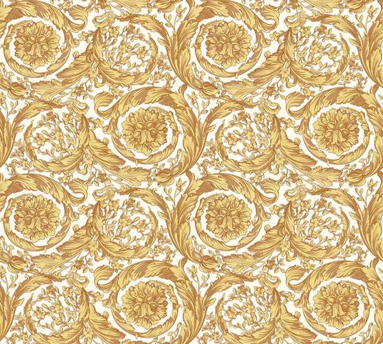 Wallpaper Versace Home Wreath Ornament white yellow Gloss 366925 buy online