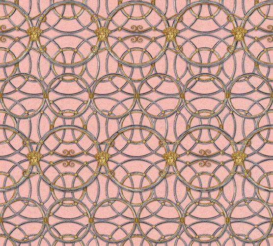 Versace Home Tapete Medusa rosa silber Metallic 370496