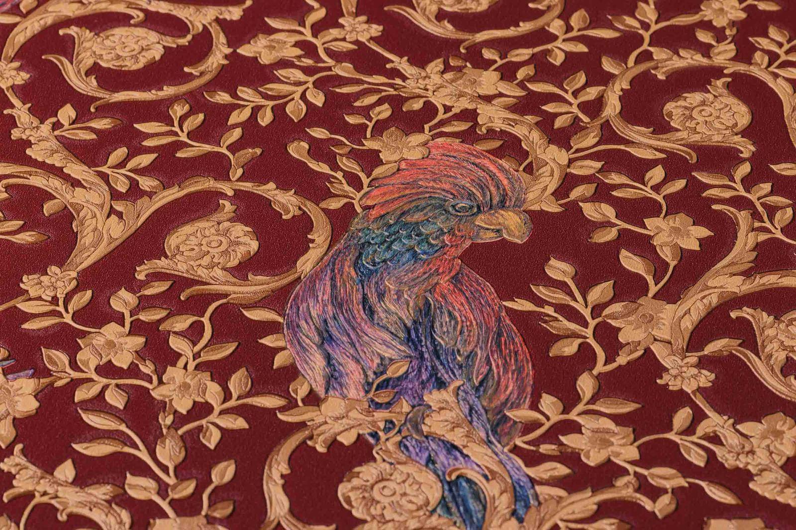 Wallpaper Versace Home Ornament Birds Red Gold Metallic 370534