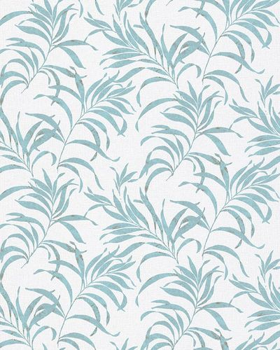 Non-Woven Wallpaper Fern white turquoise Gloss 6729-10 online kaufen
