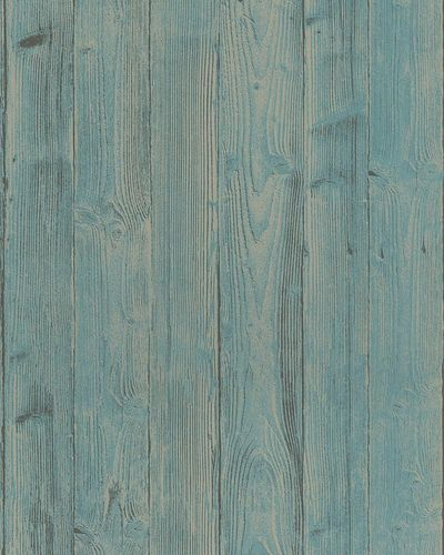 Non-Woven Wallpaper Wood Look 3D turquoise beige 6715-50