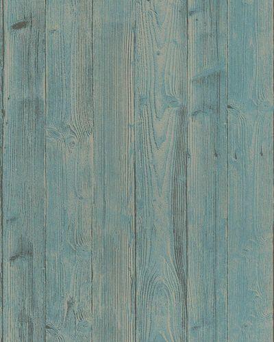 Vliestapete Holzoptik 3D türkis beige Belinda 6715-50