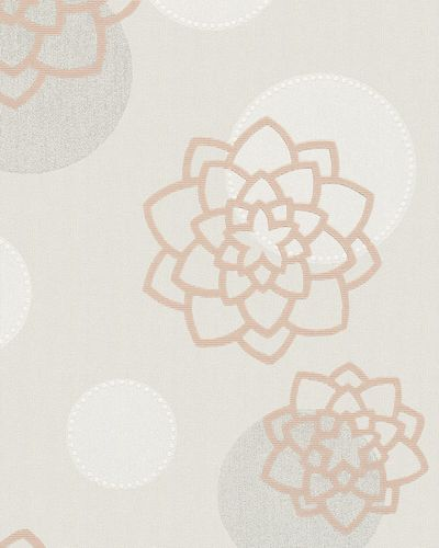Non-Woven Wallpaper Flowers Dots cream taupe grey 6727-20