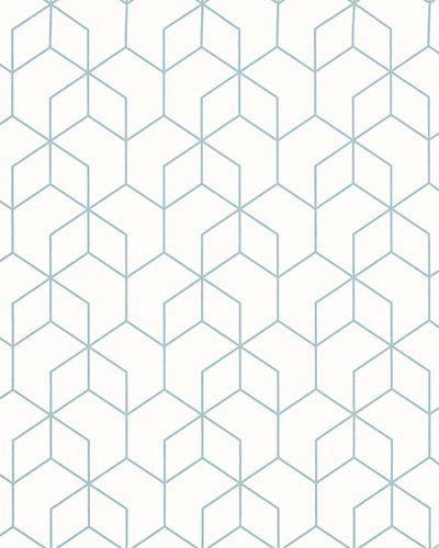 Tapete Vlies Grafik Sechsecke weiß blau Glanz 6743-30 online kaufen