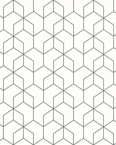 Non-Woven Wallpaper Hexagon white black Gloss 6743-40 online kaufen