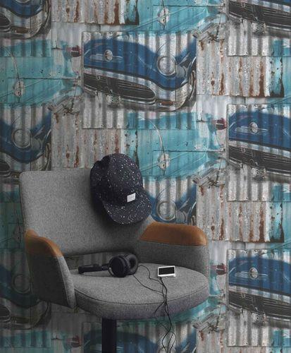 Jugendtapete Rasch Metallkacheln Oldtimer blau 212402 online kaufen