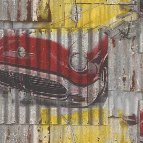 Jugendtapete Rasch Metallkacheln Oldtimer rot gelb 212419 online kaufen
