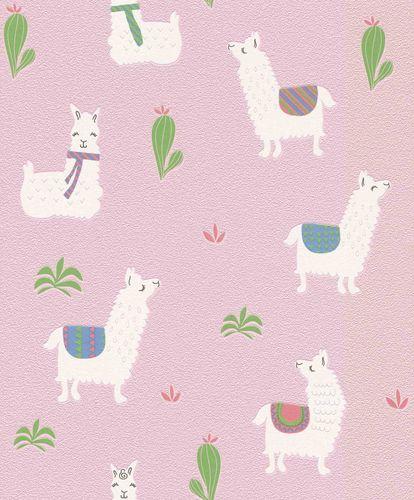 Non-Woven Wallpaper Kids Llama pink white Rasch 813258