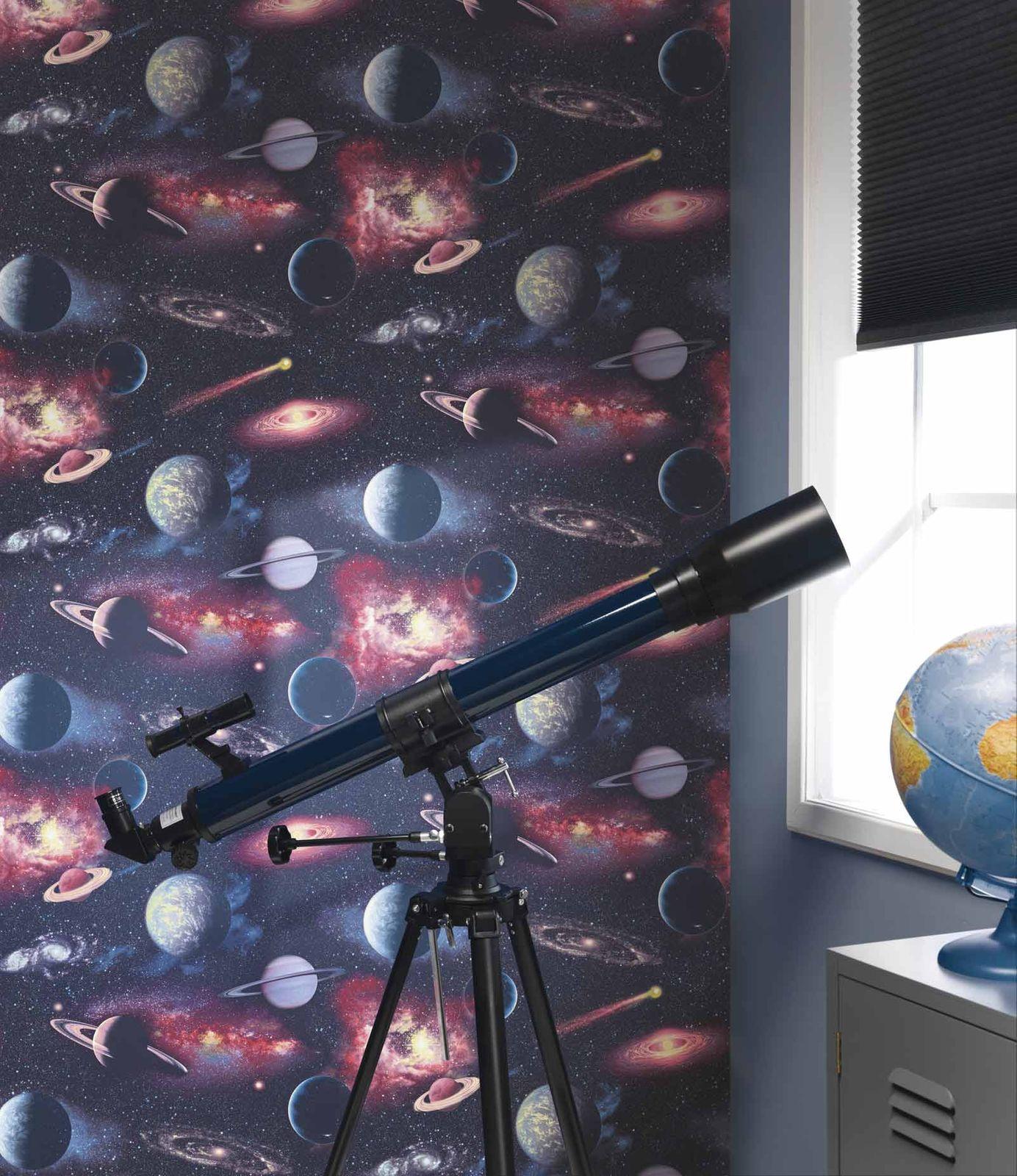 Space Wallpaper Cosmic Planets Glitter Stars Purple Rasch