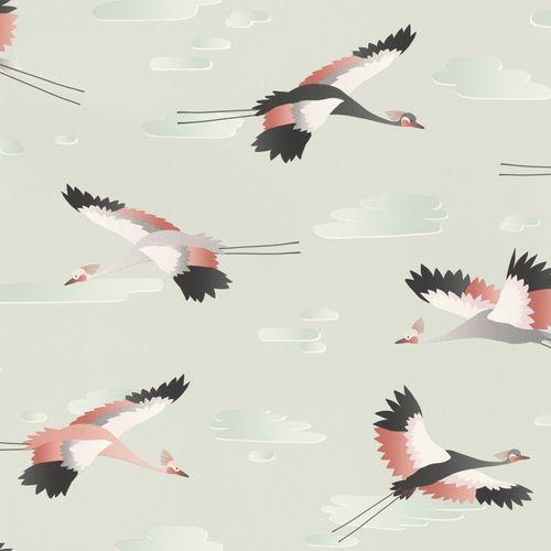 Kid's Wallpaper Crane Bird Clouds grey red Rasch 818116 online kaufen