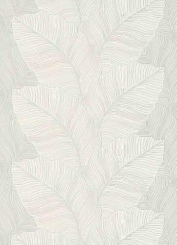 Tapete Vlies Floral Blätter weiß silber Glitzer 10021-01
