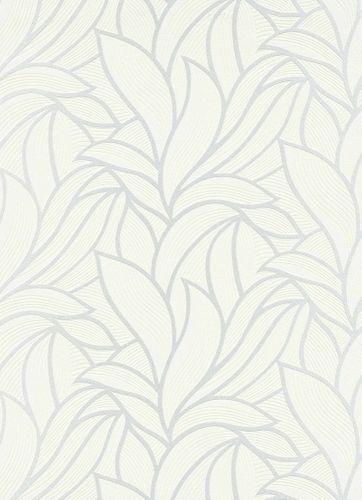 Tapete Vlies Blätter Grafisch weiß Metallic 10023-01