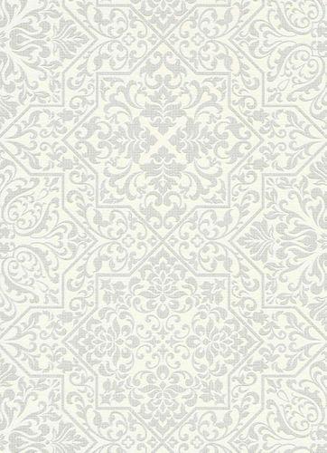 Non-Woven Wallpaper Ornaments white Metallic 10024-01 online kaufen