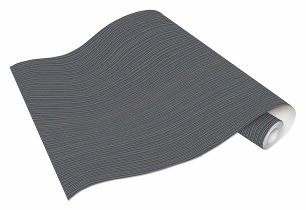 Tapete Vlies Linien schwarz blau Metallic Bali 10026-47