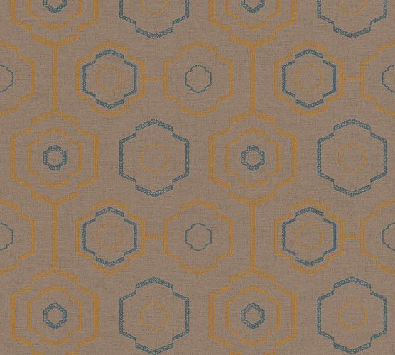 Vinyl Wallpaper Retro Ethno brown blue 37177-3 online kaufen
