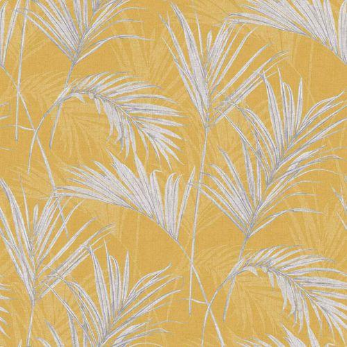 Tapete Vinyl Blätter Palmen gelb grau metallic MY2001 online kaufen