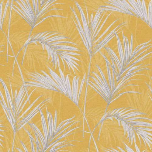 Vinyl Wallpaper Leaves Palms yellow grey metallic MY2001 online kaufen