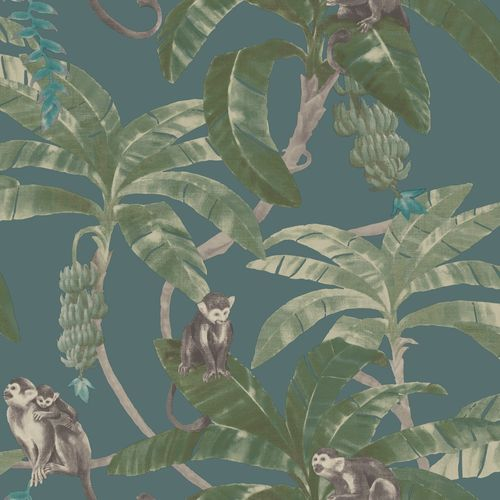 Tapete Vinyl Regenwald Affen blau grün Grandeco MY2403 online kaufen