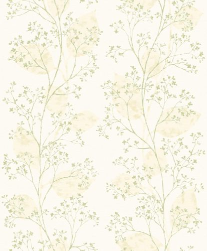 Non-Woven Wallpaper Branches white green Metallic ON2002 online kaufen