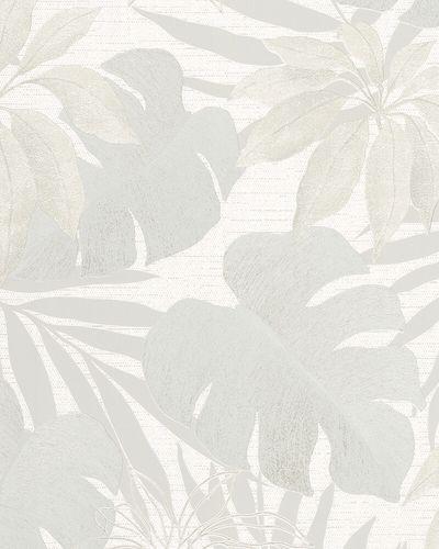 Tapete Vlies Floral Blätter silber grau metallic 31603 online kaufen