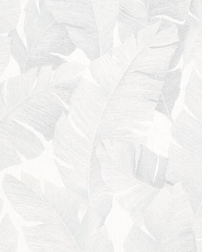 Tapete Vlies Bananenblätter weiß silber metallic 31623 online kaufen