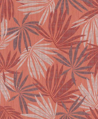 Tapete Vlies Tropisch rot weiß metallic Rasch 535426 online kaufen