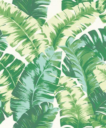 Tapete Vlies Floral Blätter weiß grün Rasch 535648 online kaufen