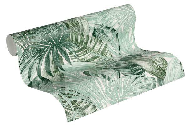 Tapete Vlies Botanik Dschungel weiß grün 36820-1