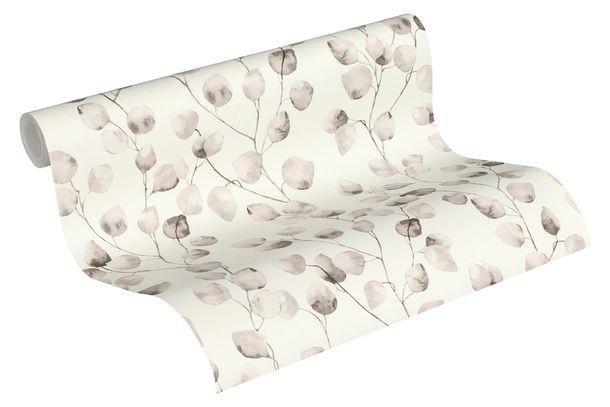 Tapete Vlies Blätter Blüten weiß grau 37044-2 online kaufen