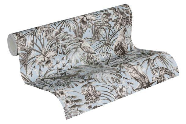 Tapete Vlies Vögel Dschungel blau grau 37210-3 online kaufen