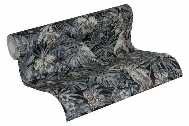 Tapete Vlies Vögel Dschungel schwarz grau 37210-4 online kaufen